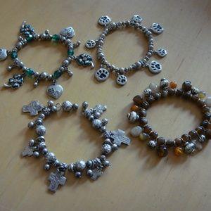 Jewelry - Lot of 4 Stretchy Charm Bracelets